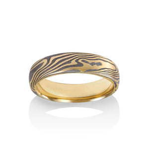 Chris Ploof Maple Mokume Ring in 18K Yellow Gold and Meteorite