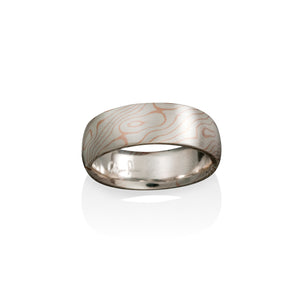 Chris Ploof Aspen Silver and 14K Red Gold Mokume Ring