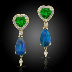 Australian Opal, Tsavorite and Diamond, 18k Yellow Gold Earrings