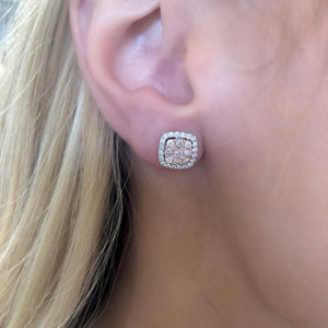 Pink and White Diamond Stud Earrings