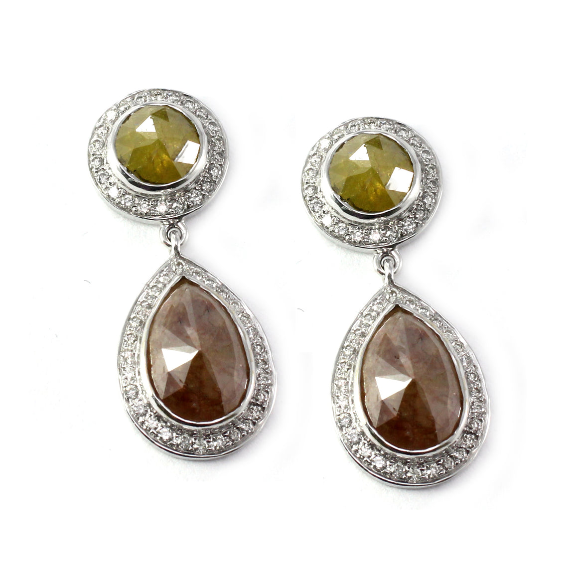 Natural Green and White Diamond Drop Earrings by Vivaan - Talisman Collection Fine Jewelers