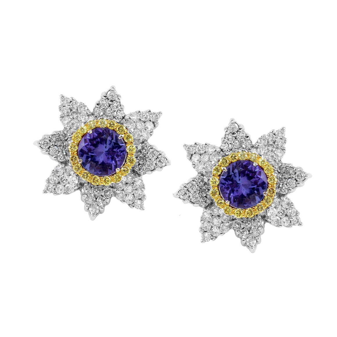 Tanzanite and Yellow Diamond Stud Earrings by Vivaan - Talisman Collection Fine Jewelers