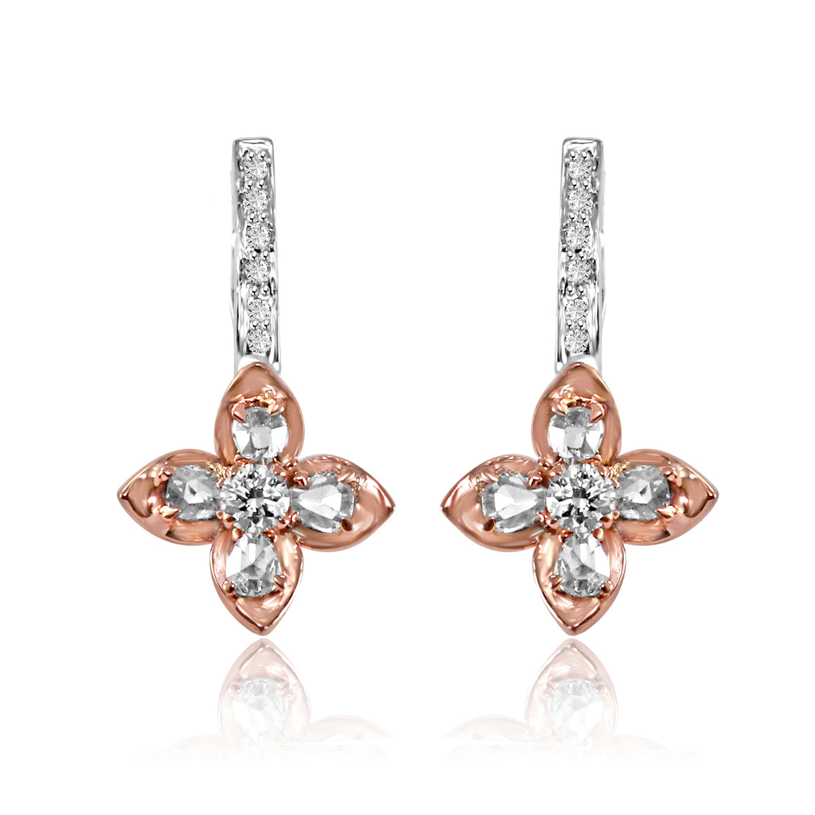 Rosecut Diamond Flower Drop Earrings by Vivaan - Talisman Collection Fine Jewelers