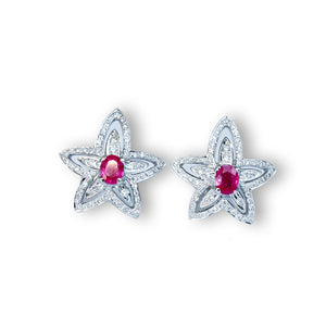 Ruby and Diamond Flora Stud Earrings by Vivaan - Talisman Collection Fine Jewelers