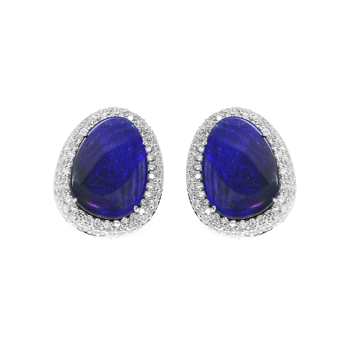 Opal and Diamond Stud Earrings by Vivaan - Talisman Collection Fine Jewelers