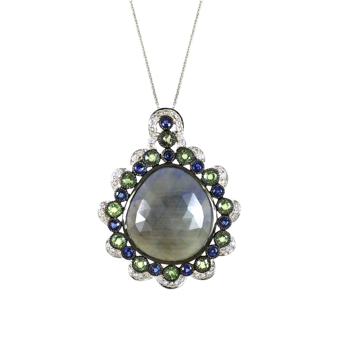 Sapphire Slice and Diamond Pendant by Vivaan - Talisman Collection Fine Jewelers