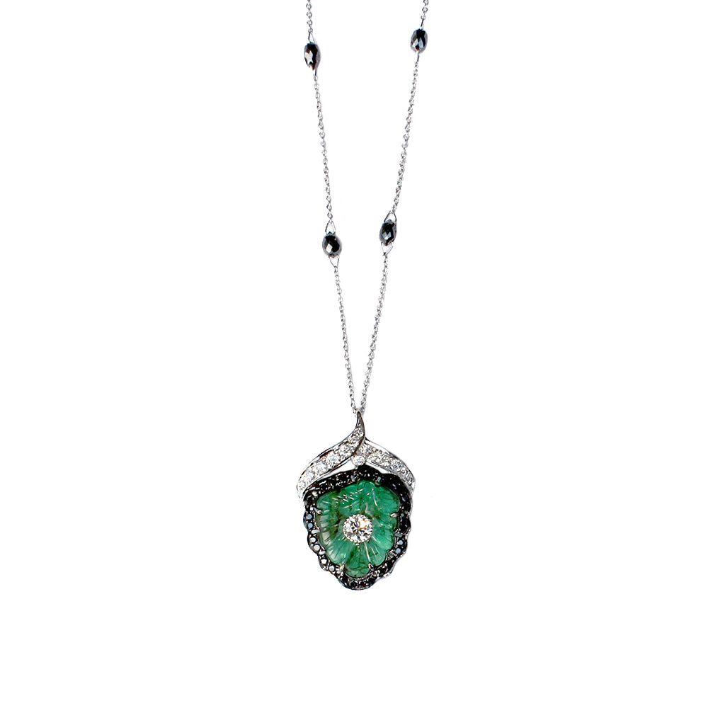 Carved Emerald and Diamond Necklace by Vivaan - Talisman Collection Fine Jewelers