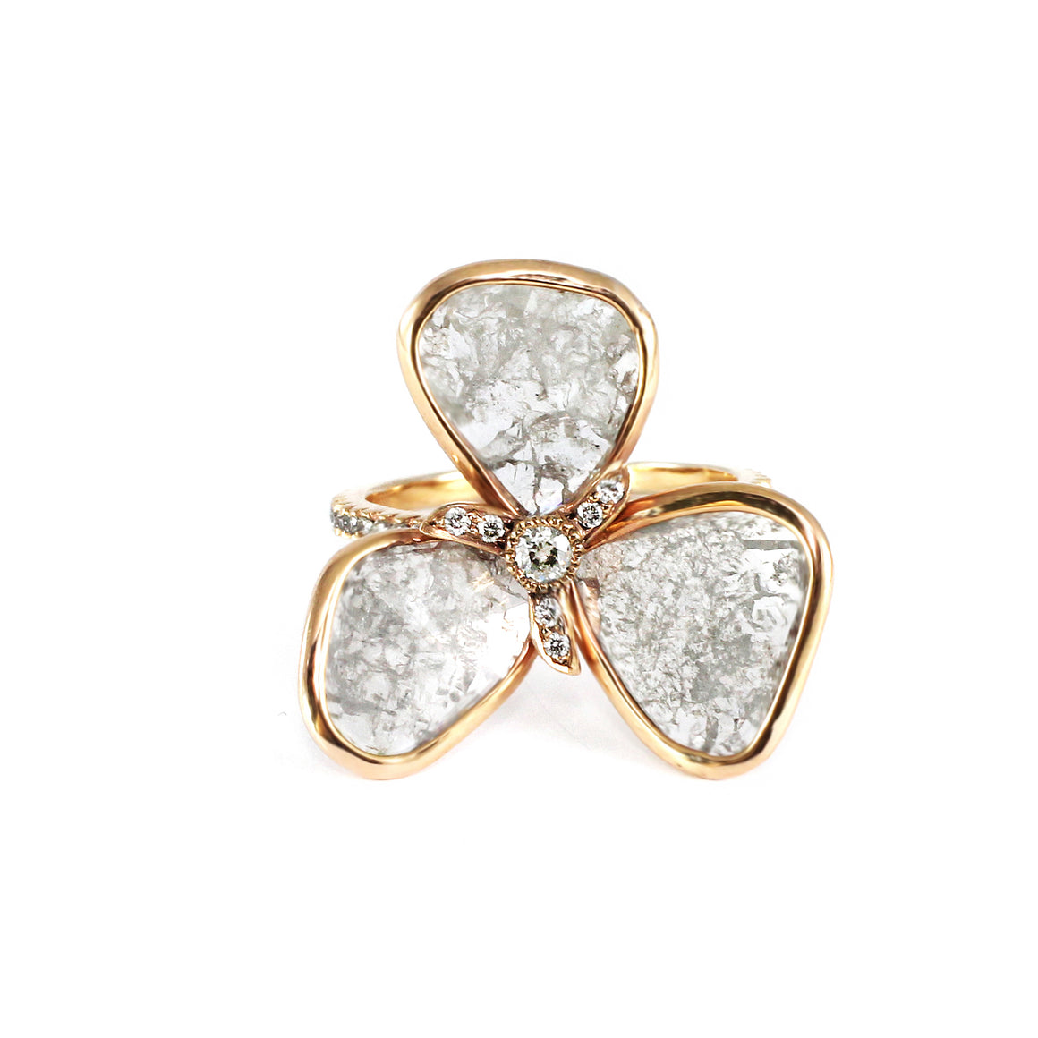 Grey Diamond Slice Flower Ring by Vivaan - Rose Gold - Talisman Collection Fine Jewelers