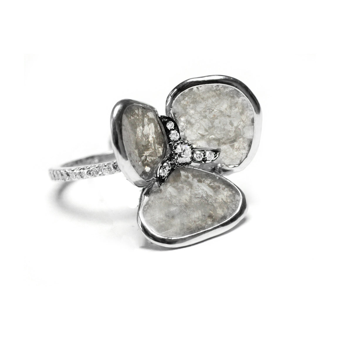 Grey Diamond Slice Flower Ring by Vivaan - White Gold - Talisman Collection Fine Jewelers
