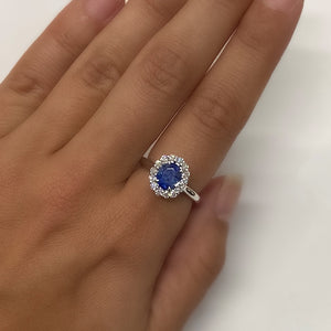 Oval Blue Sapphire and Diamond Ring by Yael
