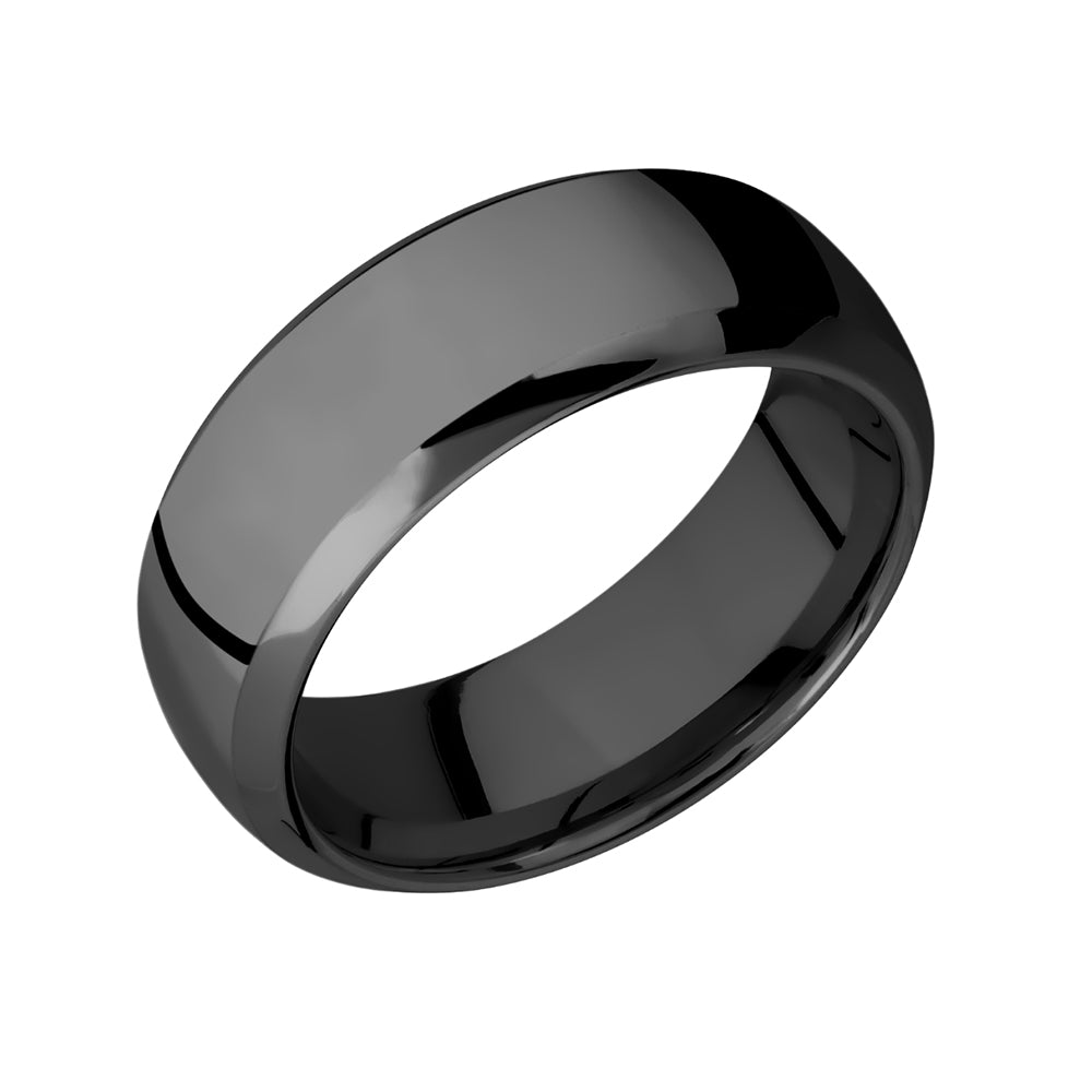 Black Zirconium Domed Bevel Men's Band - Talisman Collection Fine Jewelers