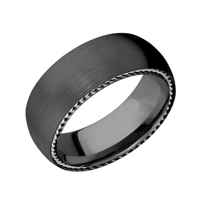 Black Zirconium Rope Detail Men's Band