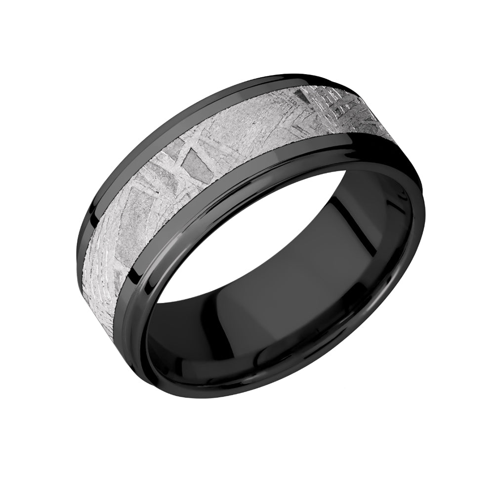Black Zirconium and Meteorite Inlay Men's Band - Talisman Collection Fine Jewelers