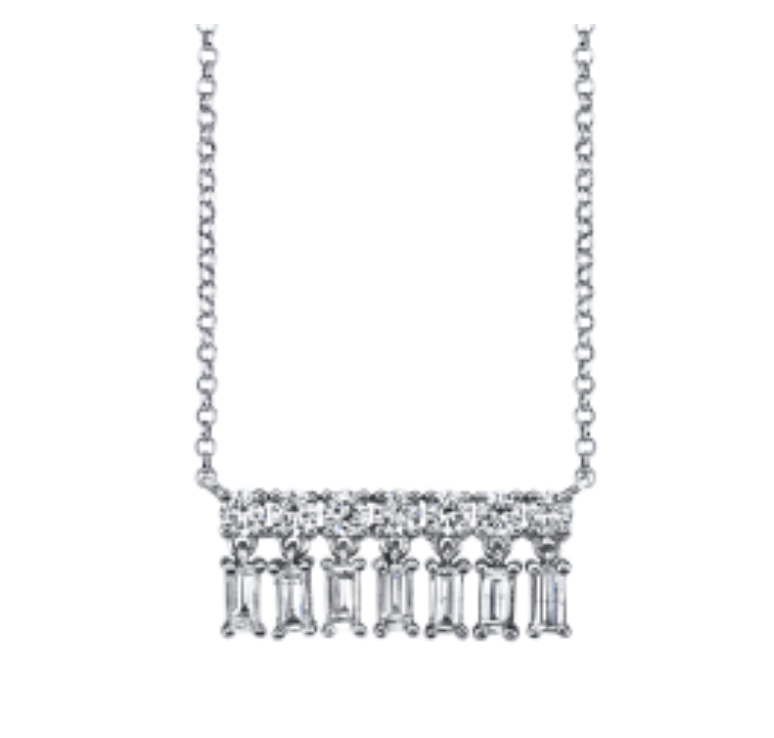Diamond Baguette Small Bar Dangle Necklace by Borgioni - Talisman Collection Fine Jewelers
