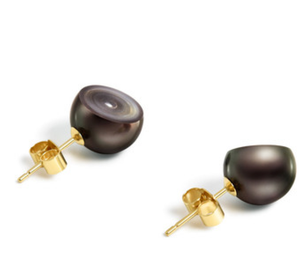 Melanie Georgacopoulos Sliced Black South Sea Pearl Earrings - Talisman Collection