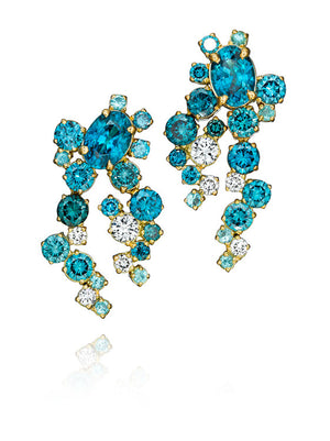 MadStone Melting Ice Blue Zircon and Paraiba Tourmaline Earrings