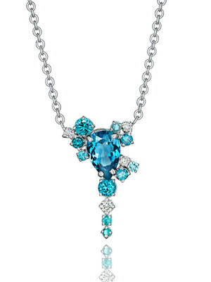 Melting Ice 18k White Gold Blue Topaz and Paraiba Tourmaline Necklace by MadStone - Talisman Collection Fine Jewelers