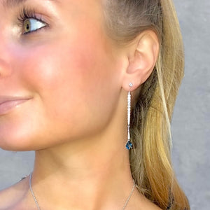 London Blue Topaz and Diamond Stiletto Drop Earrings by Doves - Talisman Collection Fine Jewelers