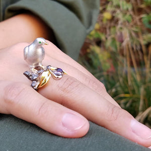 Dove on a Wild Plum Tree Ring by Manya & Roumen - Talisman Collection Fine Jewelers