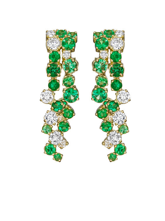 MadStone Melting Ice 18k Yellow Gold Emerald and Diamond Earrings
