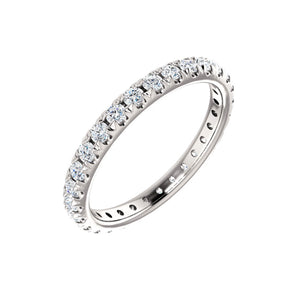 French Set Diamond Eternity Band in White, Yellow or Rose Gold - Talisman Collection Fine Jewelers