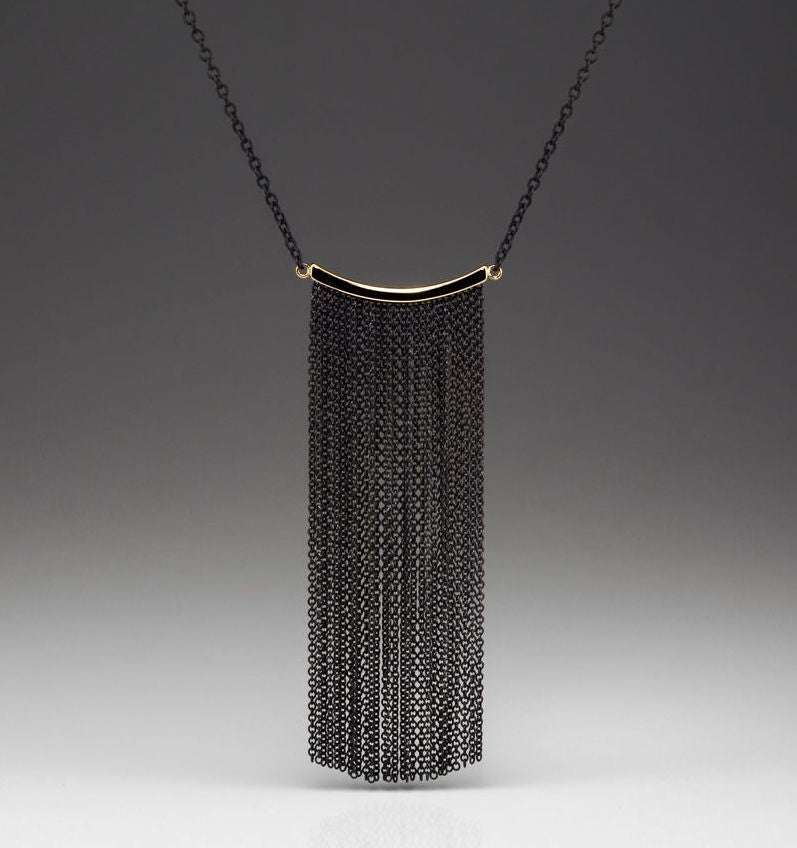 Elongated Fringe Necklace - 14k Yellow Gold & Oxidized Silver - Talisman Collection Fine Jewelers