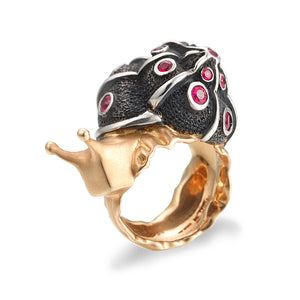 Black and 18k Yellow Gold Snail Ring by Manya & Roumen - Talisman Collection Fine Jewelers
