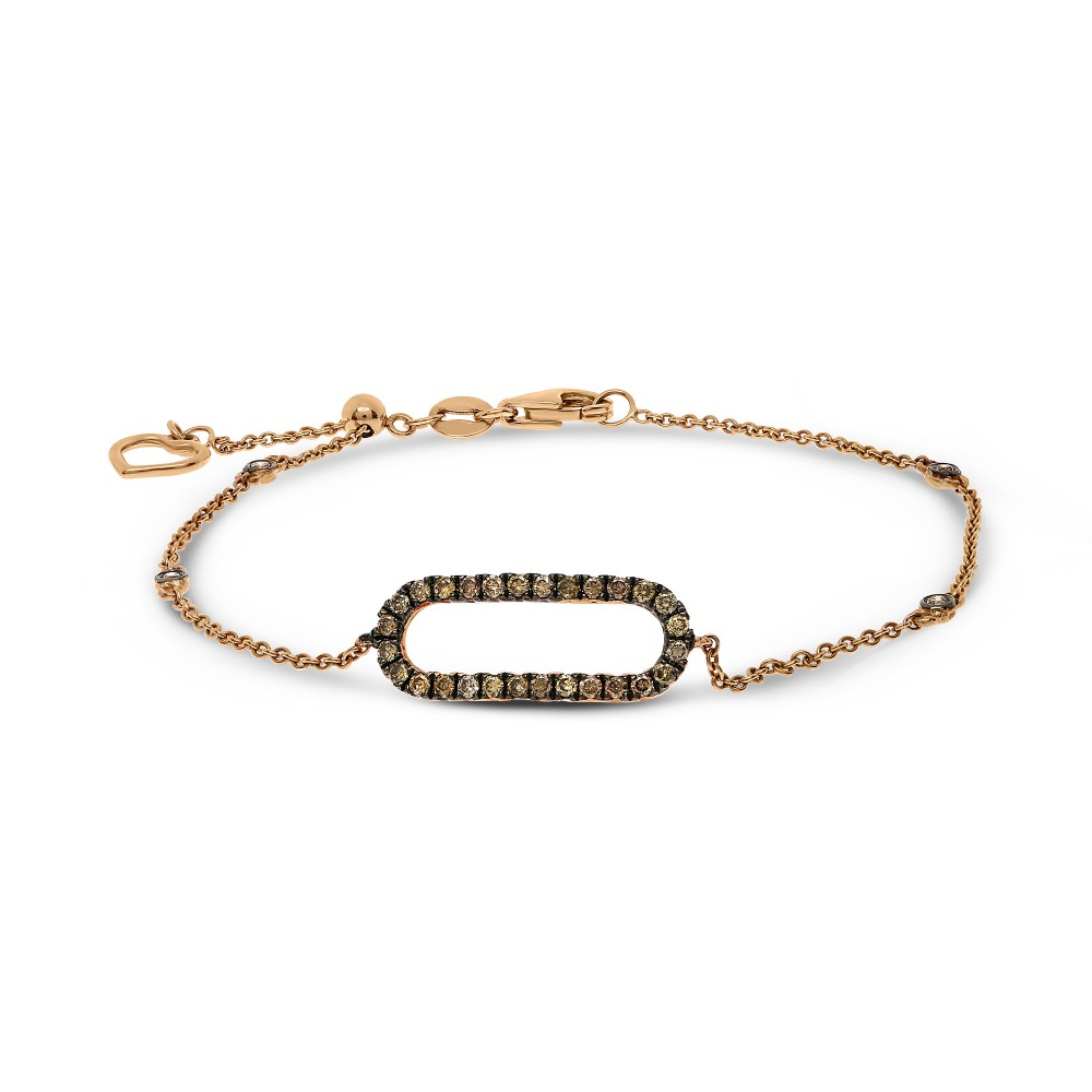 Champagne Diamond Ellipse Bracelet in 14k Rose Gold - Talisman Collection Fine Jewelers