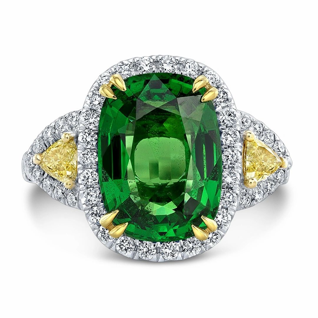 Tsavorite and Yellow Diamond, 18k Yellow and White Gold Ring