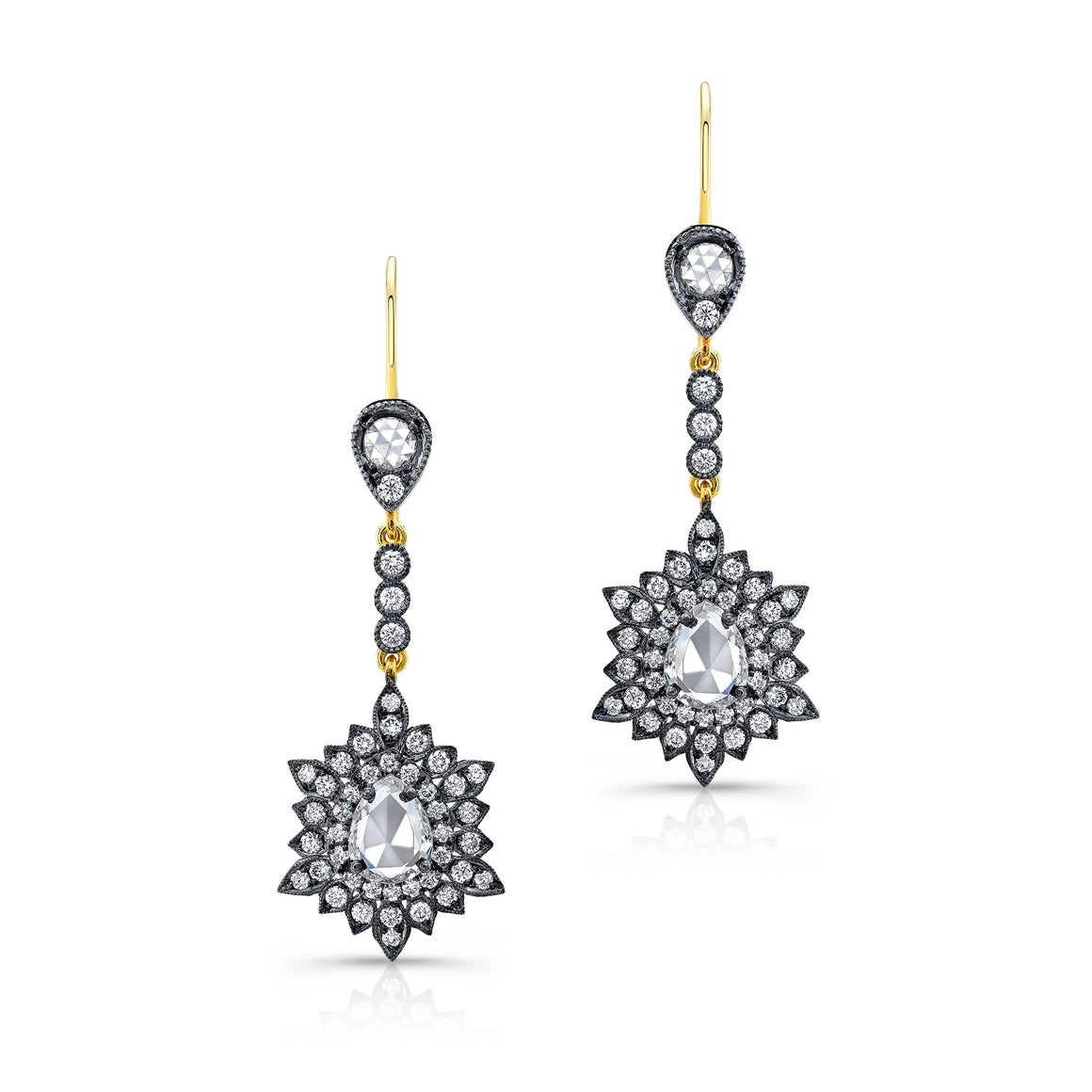 18k Yellow Gold and Diamond Drop Earrings by Lord Jewelry - Talisman Collection Fine Jewelers