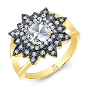 18k Yellow Gold and Diamond Rose Cut Starburst Ring by Lord Jewelry - Talisman Collection Fine Jewelers