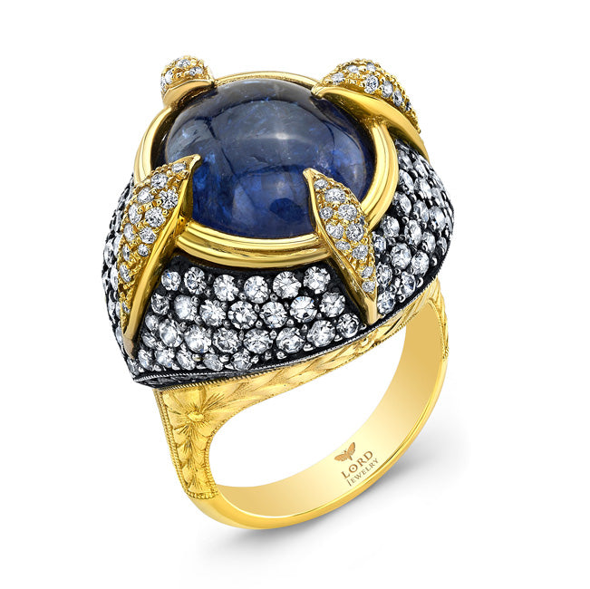 18k Yellow Gold, Diamond and Tanzanite Ring by Lord Jewelry - Talisman Collection Fine Jewelers