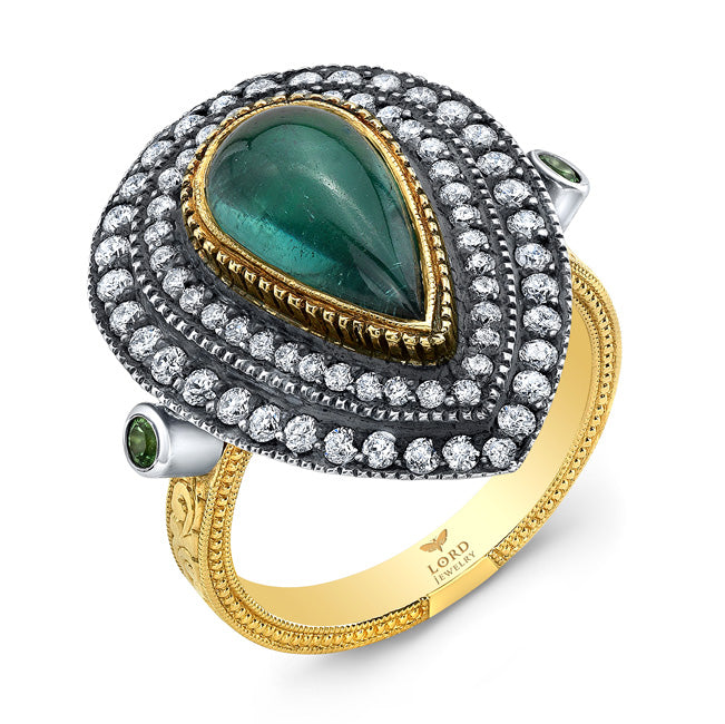 18k Yellow Gold, Green Tourmaline and Diamond Ring by Lord Jewelry - Talisman Collection Fine Jewelers