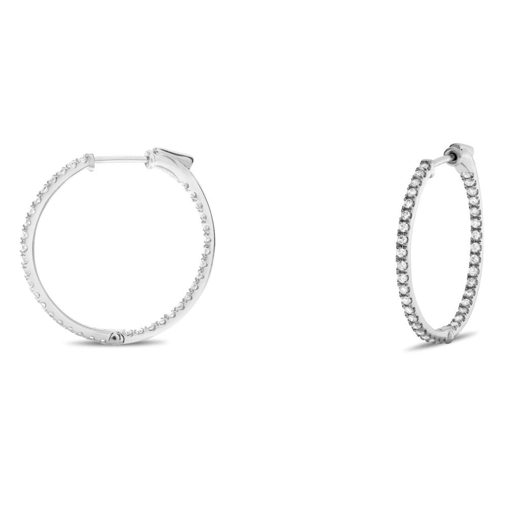 Diamond Hoop Earrings, 0.50 Total Carat Weight - Talisman Collection Fine Jewelers