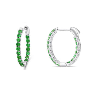 Tsavorite Garnet Hoop Earrings - Talisman Collection Fine Jewelers
