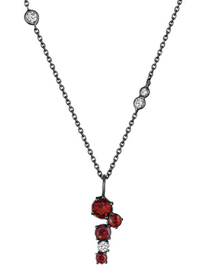 MadStone Melting Ice Garnet and Diamond Drop Necklace - Talisman Collection