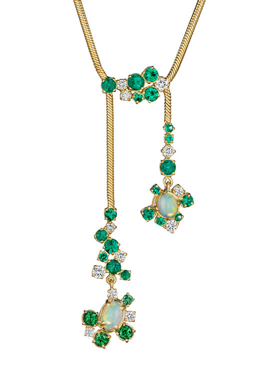 Melting Ice Ethiopian Opal and Emerald Necklace by MadStone - Talisman Collection Fine Jewelers