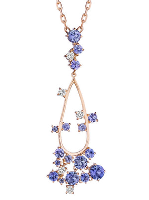 MadStone Melting Ice 18k Yellow Gold Tanzanite Drop Necklace