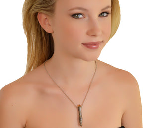 """Totem"" Mokume Gane Citrine Necklace by Geoff Thomas - Talisman Collection Fine Jewelers"