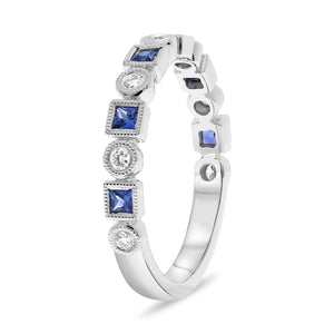 Blue Sapphire and Diamond Mixed Shape Stack Band - Talisman Collection Fine Jewelers