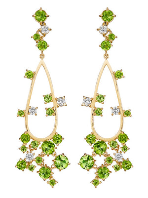 Melting Ice 18k Yellow Gold Peridot and Diamond Earrings by MadStone - Talisman Collection Fine Jewelers