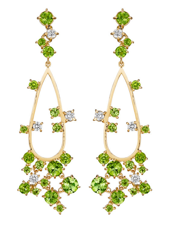 MadStone Melting Ice 18k Yellow Gold Peridot and Diamond Earrings