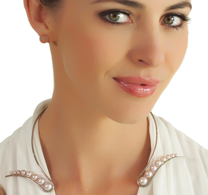 Pink Pearl Palladium Collar Necklace by Melanie Georgacopoulos - Talisman Collection Fine Jewelers