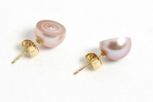 Melanie Georgacopoulos Sliced Pink Pearl Earrings - Talisman Collection