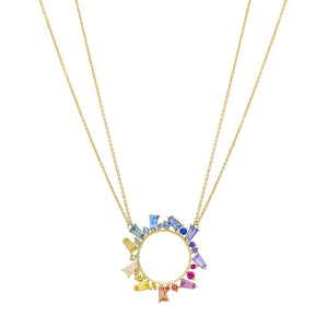 Rainbow Sapphire Open Circle Necklace by Meredith Young