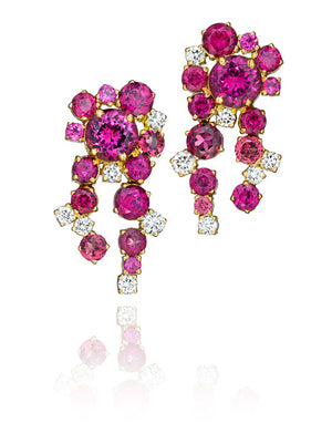 Melting Ice Rhodolite Garnet and Diamond Earrings by MadStone
