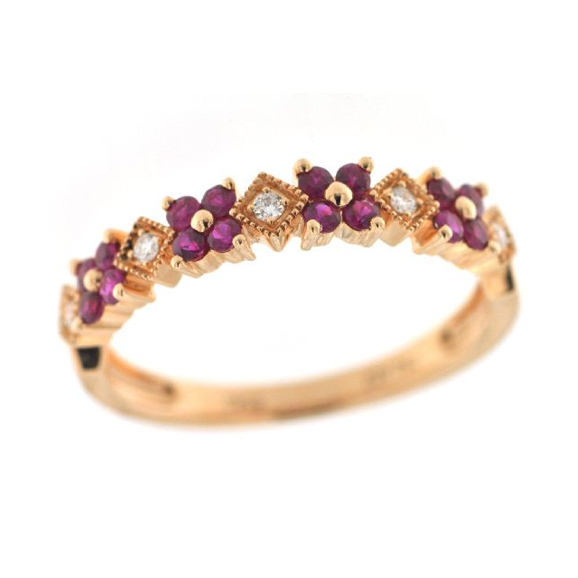 Ruby and Diamond Flower Stack Band - Talisman Collection Fine Jewelers