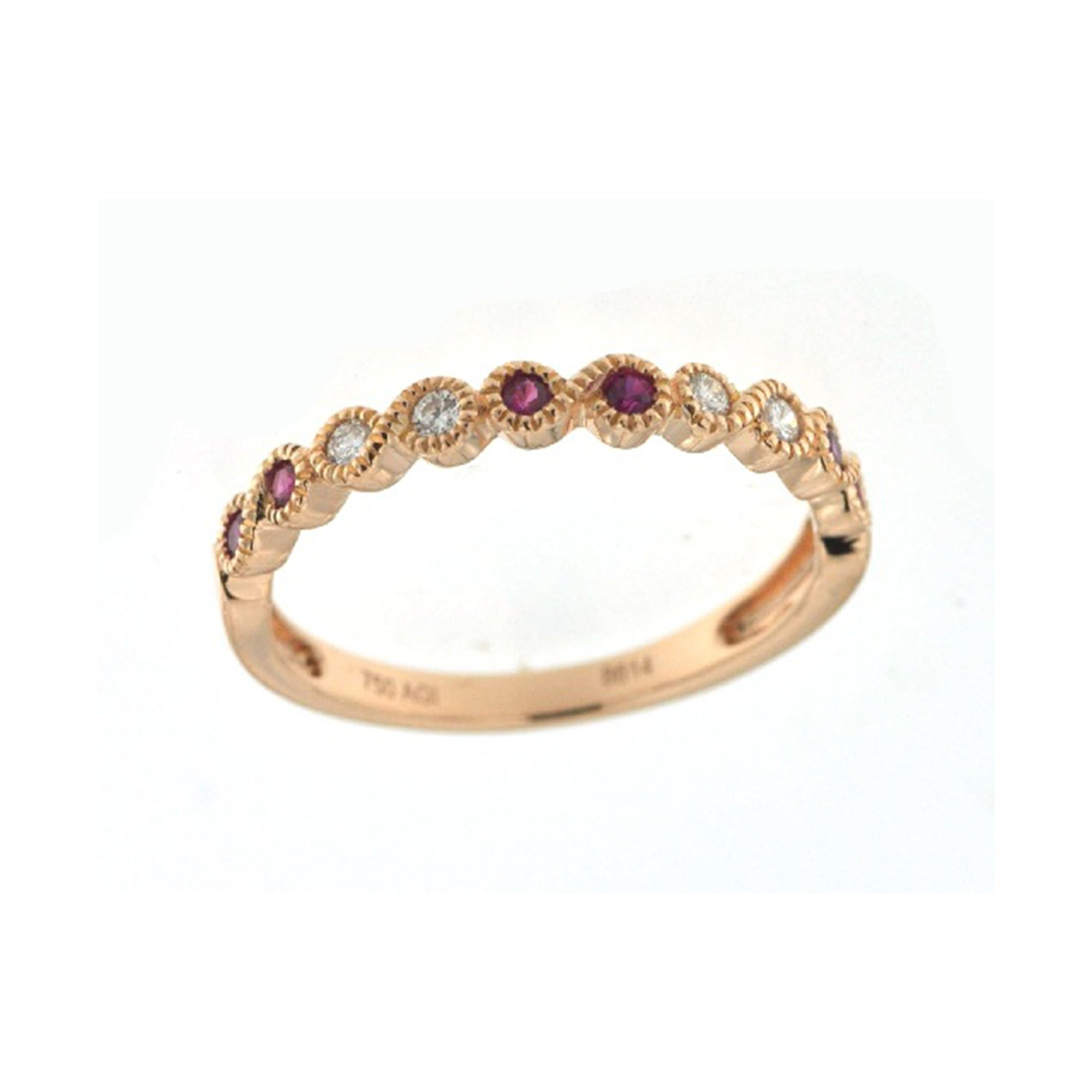 Ruby and Diamond Scalloped Stack Band - Talisman Collection Fine Jewelers