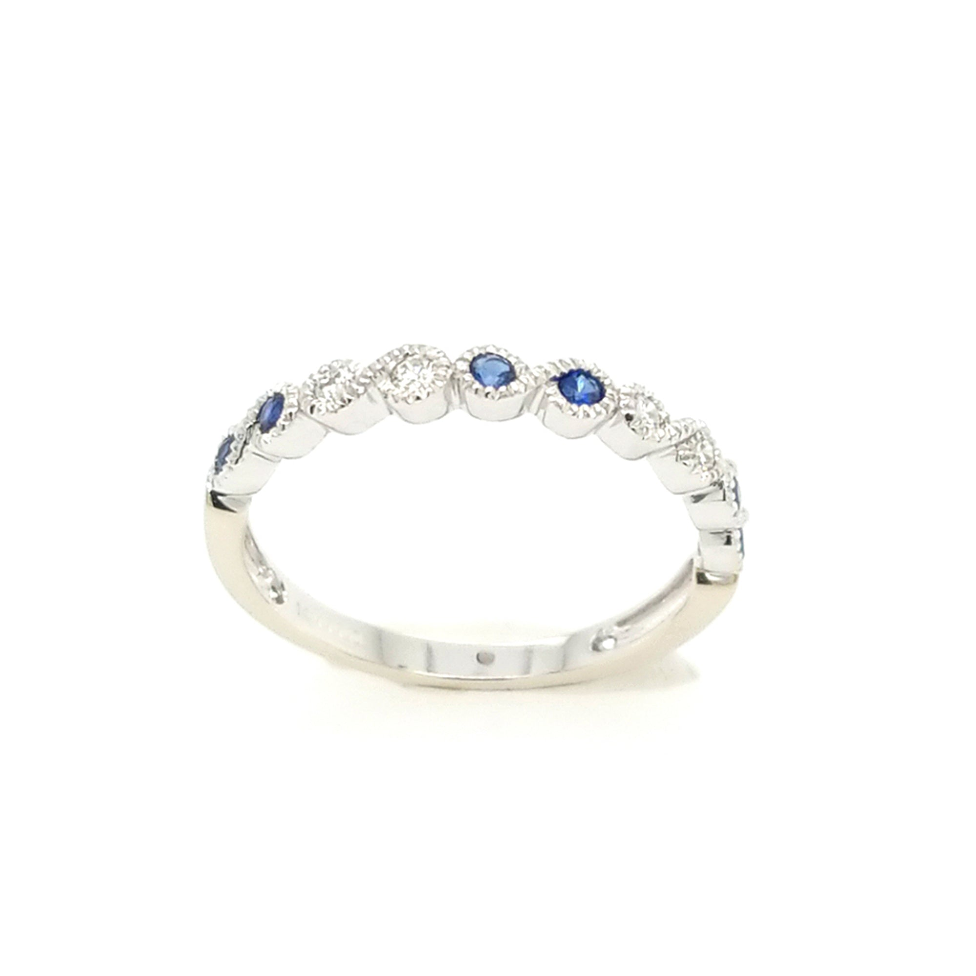 Sapphire and Diamond Scalloped Stack Band - Talisman Collection Fine Jewelers