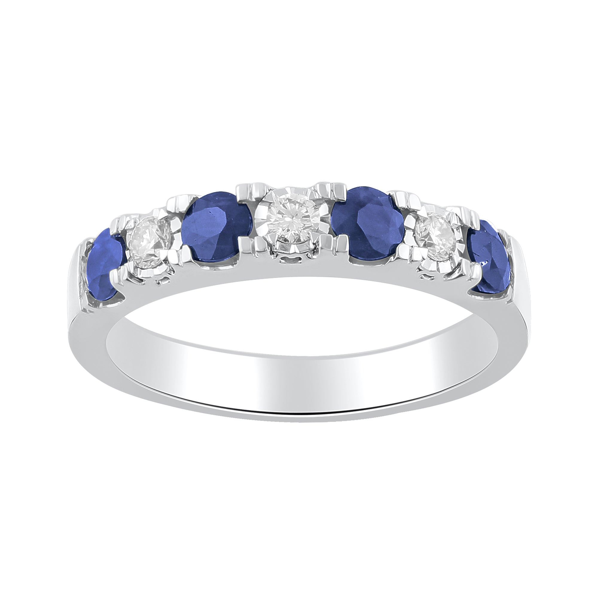 Sapphire and Diamond Anniversary Band in 14k White Gold - Talisman Collection Fine Jewelers